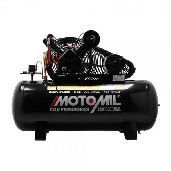 Compressor de Ar 20 Pés 200 Litros 175 Libras Mod. CMAV 20/200L - Motomil